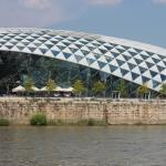 The beautiful Budapest Veil that is a fiber glass indoor sports stadium.