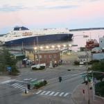 View of the harbor in the evening. The ferry to Nova Scotia has arrived