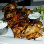 Grilled wings with cucumber and tzatziki are DELISH!