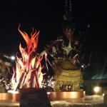 Front view of sculptures at night