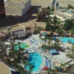 The view of the swimming pool complex from our room