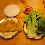 Vietnamese pancake with ricepaper and fresh herbs