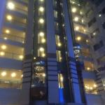 View of the glass elevators from the atrium/restaurant area
