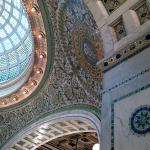 Chicago Cultural Center -Tiffany-stained glass dome, Mother of Pearl mosaics