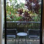 The ground floor rooms have a nice outdoor lanai with a tropical garden.