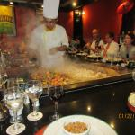 Cooking a meal at the Japanese restaurant