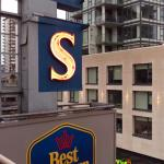 Another view of the hotel's sign, which is directly next to Room 502