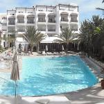 panorama view of the pool and hotel