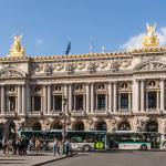 Façade of the Palais Garnier Opera House, Place de l'Opéra, Paris.