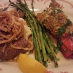 Stuffed mushrooms. Salmon Oscar. Surf and Turf. Linguine and meat ball.