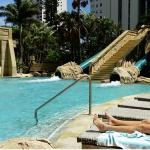 2 water slides near the pool
