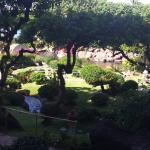 Beautiful hotel grounds with Swans, Waterfall and Ocean