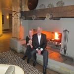 We enjoy ending the dinner with a photograph by the fireplace