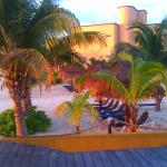 deck chairs front private beach sand arrecife suites pto morelos background separate condo