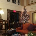 Lobby decorated for the holidays