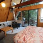 Cabin living area and wood stove