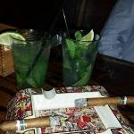 Happy Hour Mojitos and our cigars in their cool ashtray