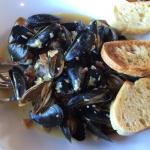 Drunken Mussels with beer and bacon- delicious! Best place for plump juicy mussels!