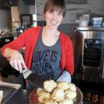 One of the great volunteers who made a fresh batch of biscuits for the soup!