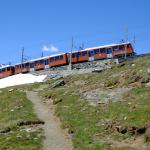 The train making its way up to Gornergrat