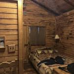 The interior of my cabin. Not shown: the warm fireplace at the foot of the bed.