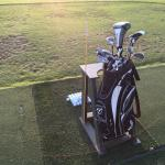 Golf clubs I rented,background is King Kamehameha driving range