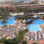 both pools are heated and plenty of sun beds. reserving beds is not alowed