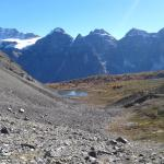 Fay Glacier and many of the Ten Peaks from the cirque above Larch Valley below Sentinel Pass