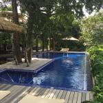 Villa 18 with views over rice paddy to main house with large, lovely pool.