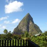 View of Pitons from restaurant