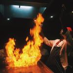 At Himitsu, the thoroughly entertaining on-site hibachi restaurant.