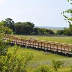 Boardwalk across marsh to the oceanfront pool and beach.