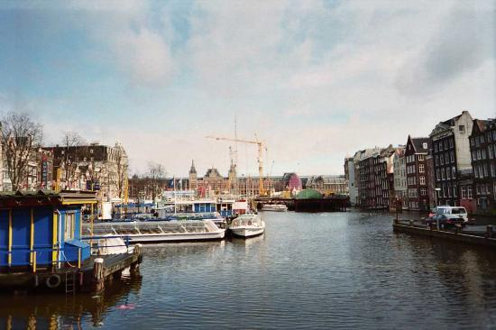 Flying Pig Downtown: Centraal Station in the background (which is about the distance hostel is from it- one...