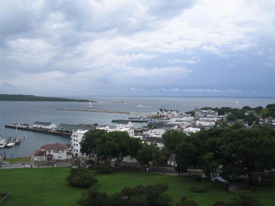 Mackinac Island, MI: View from Ft Mackinac of Downtown...