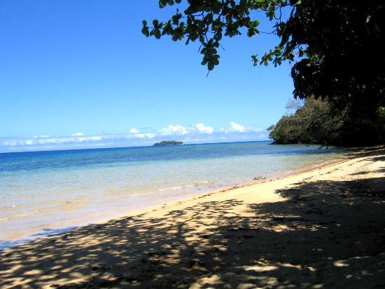 Kulu Bay Resort: We kayaked to the island in the distance