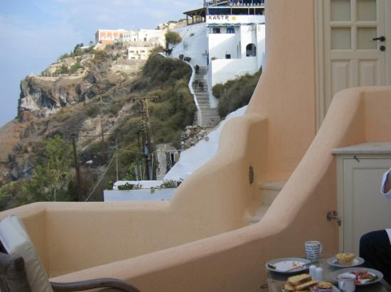 Nefeles Suites Hotel: to right -view from porch including breakfast