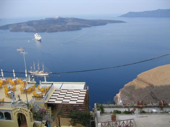Nefeles Suites Hotel: view from porch over caldera