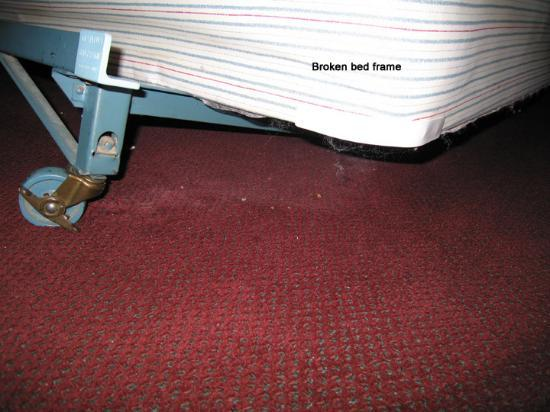 Budget Inn &amp; Suites at the Falls - Niagara: Broken bed frame