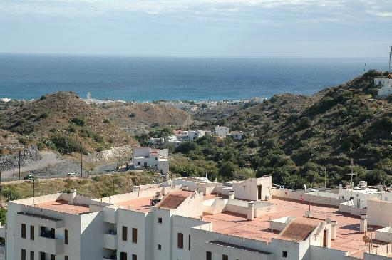 Parador de Mojacar : Panoramic view from Mojacar pueblo, Parador in centre view in distance by sea