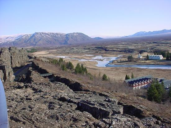 , : Thingvellir panorama, rift on the left