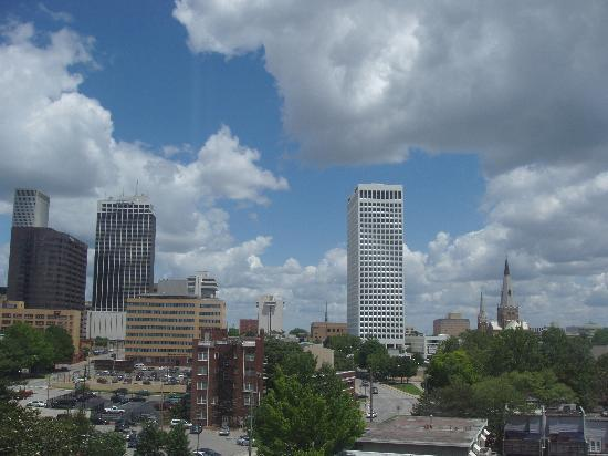 Tulsa has a pretty skyline as seen through the window of my room.