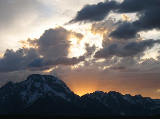 Moose, : Sunset - Teton Range