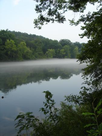 Broken Bow, OK: Mist on river after the rain