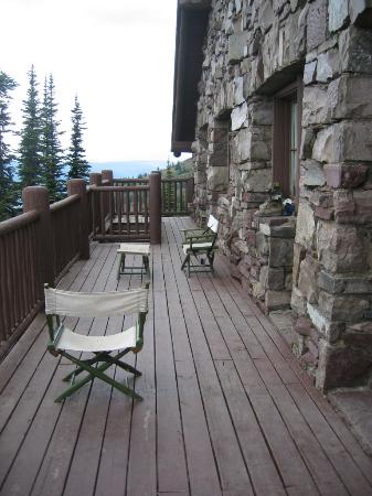 Granite Park Chalet: View from the deck in front of room 8.