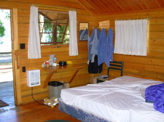 Interior of camping cabin picture of log cabin resort for Log cabin resort lago crescent wa