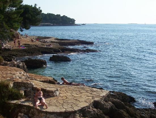 Porec, Kroasia: beach near to the hotel typical of the area