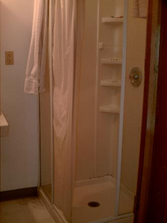 Tahoe Lake Cottages: Awkward shower, moldy linoleum.