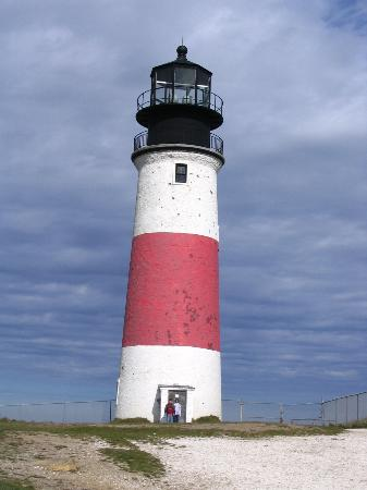 Sankaty Light houses in Sconset, Nantucket on a beautiful summer day