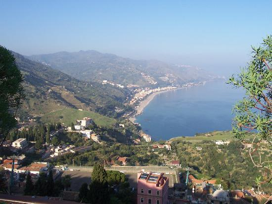 Letojanni, : View over coast from Taormina