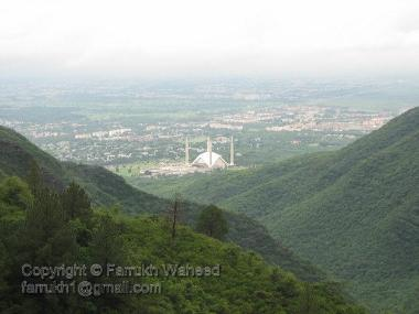View of Faisal Mosque, islamabad at day from Margallah Hills